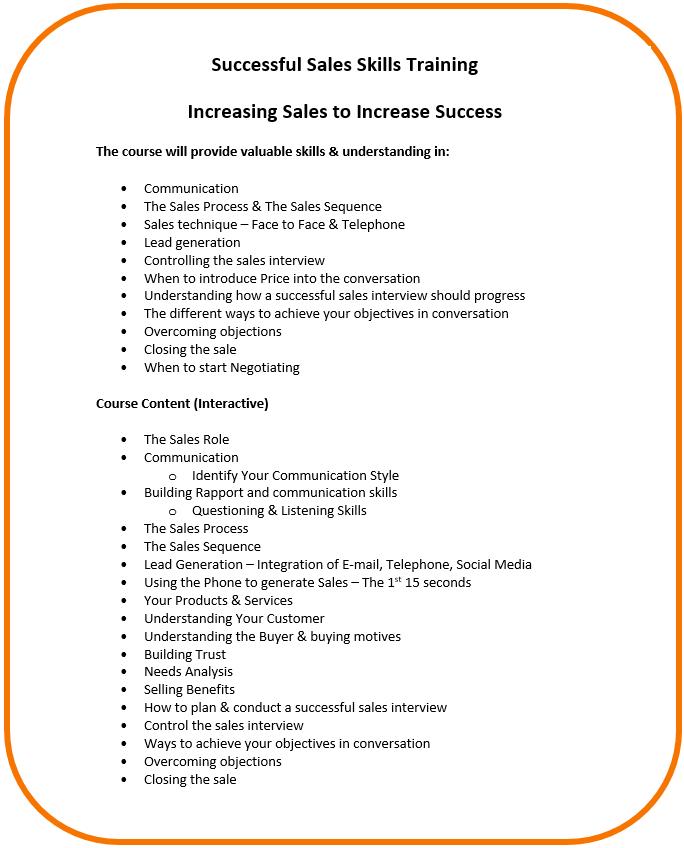 Sales Training Content