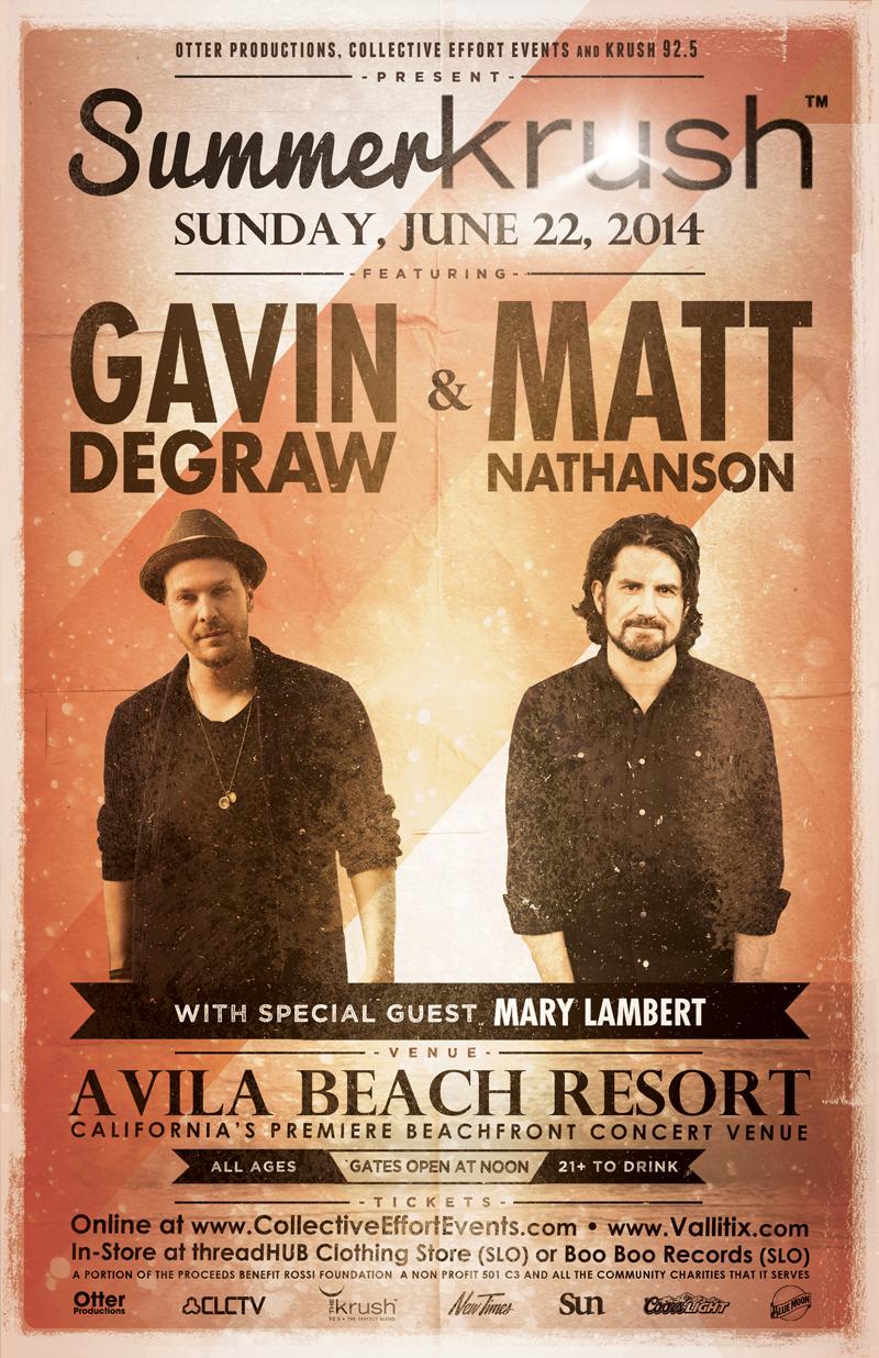 Summer Krush - Gavin Degraw & Matt Nathanson with special guests Mary Lambert