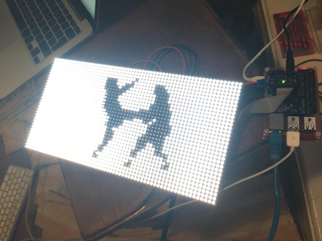 LED display of thermal image of Rambert dancers