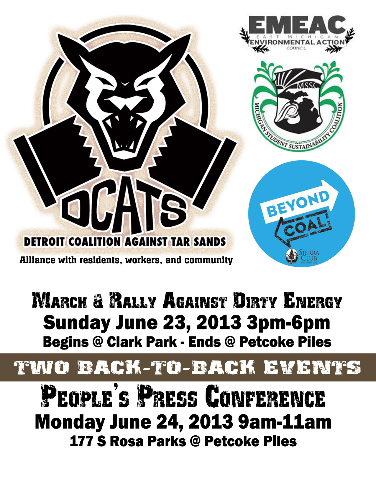 June 23-24 join DCATS to March Against Dirty Energy