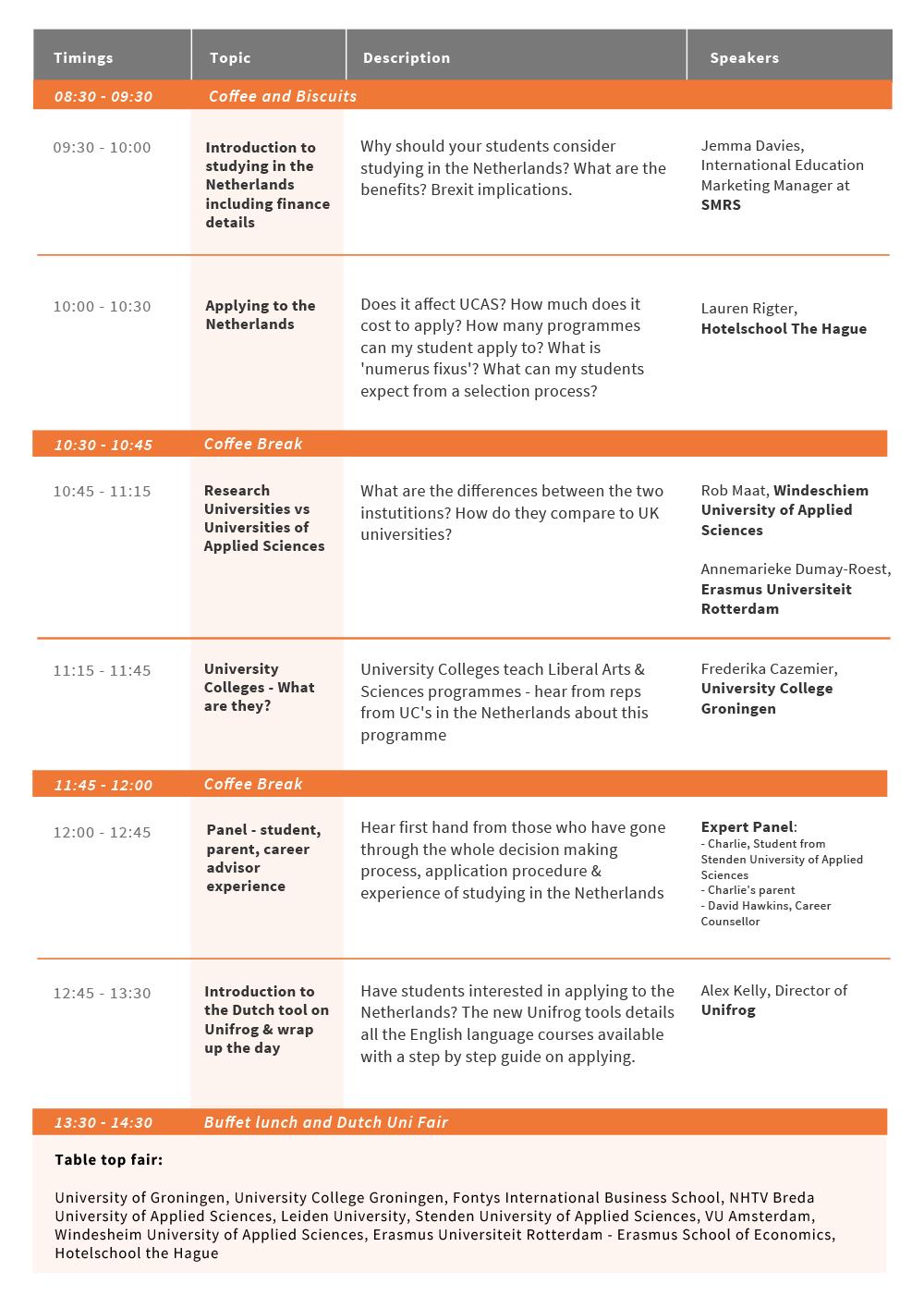 UniFrog Going Dutch Schedule