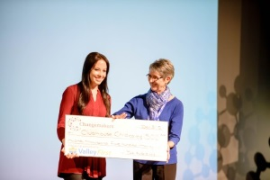 ChangeUp winner accepting a cheque