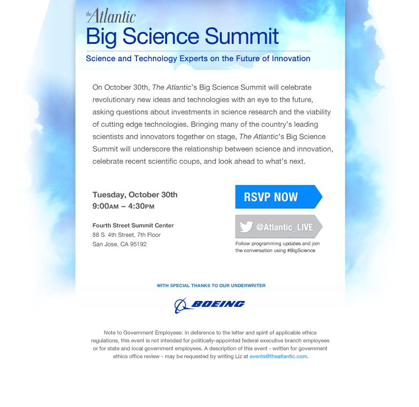 The Atlantic's Big Science Summit Invitation