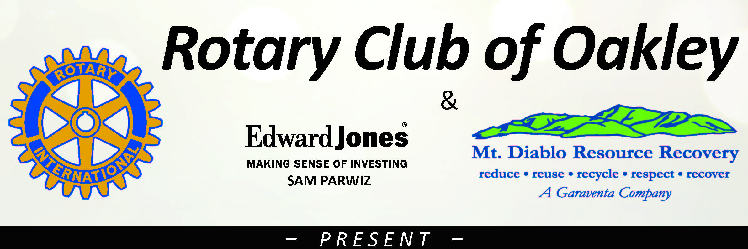 Rotary Charter Gala sponsors Edward Jones and Mr. Diablo Resource Recovery