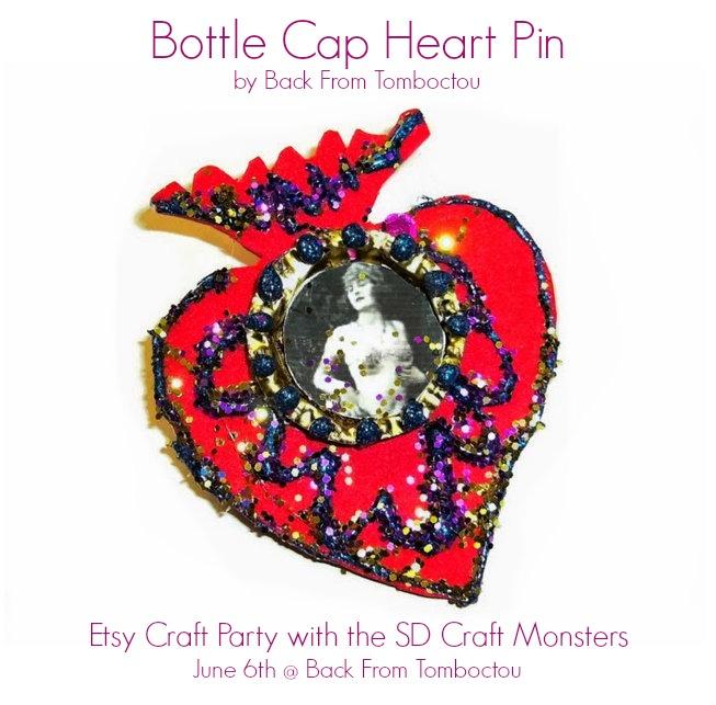 Bottle Cap Heart Pin