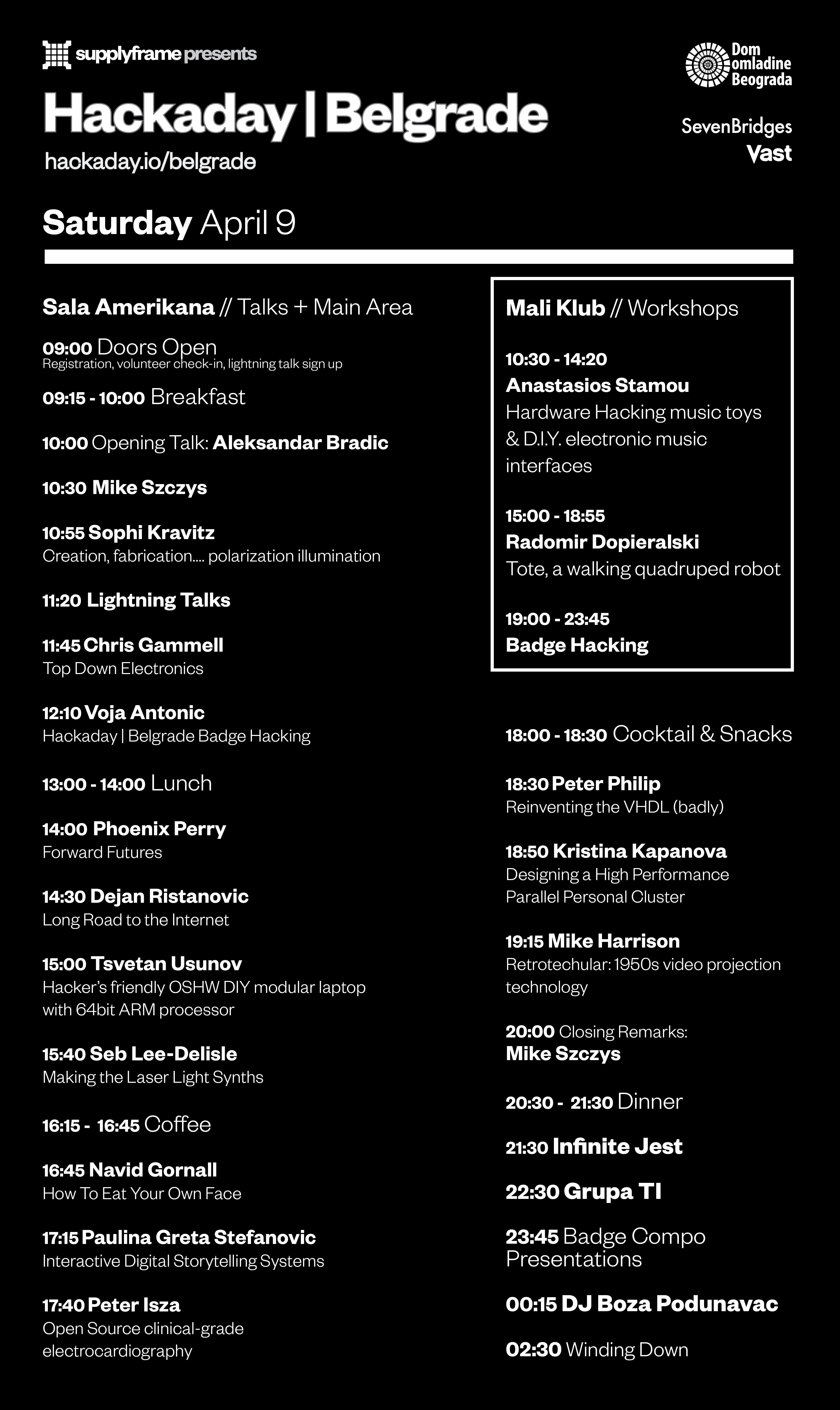 Hackaday   Belgrade Official Schedule