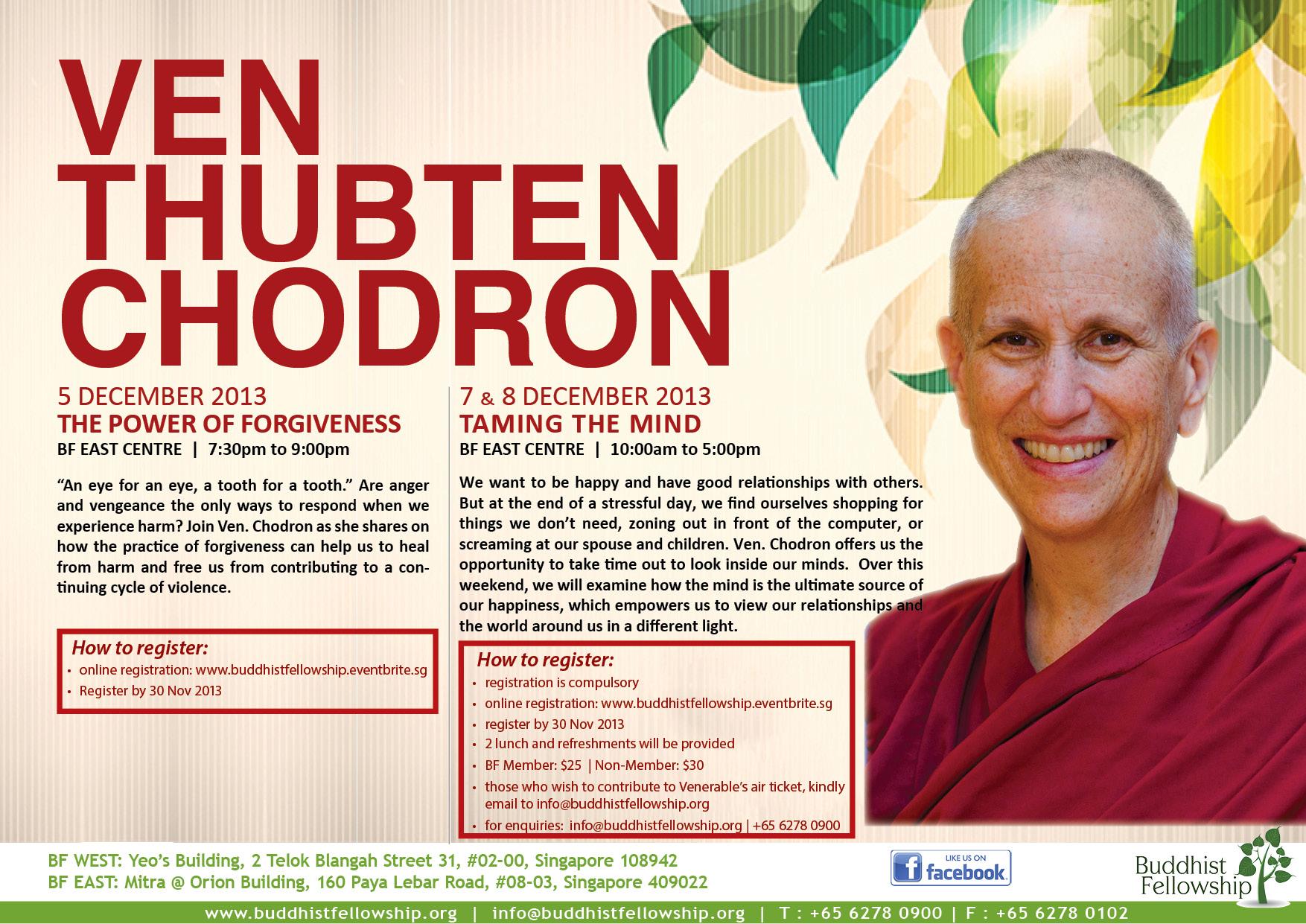 Thubten Chodron 2 Day Retreat in Singapore
