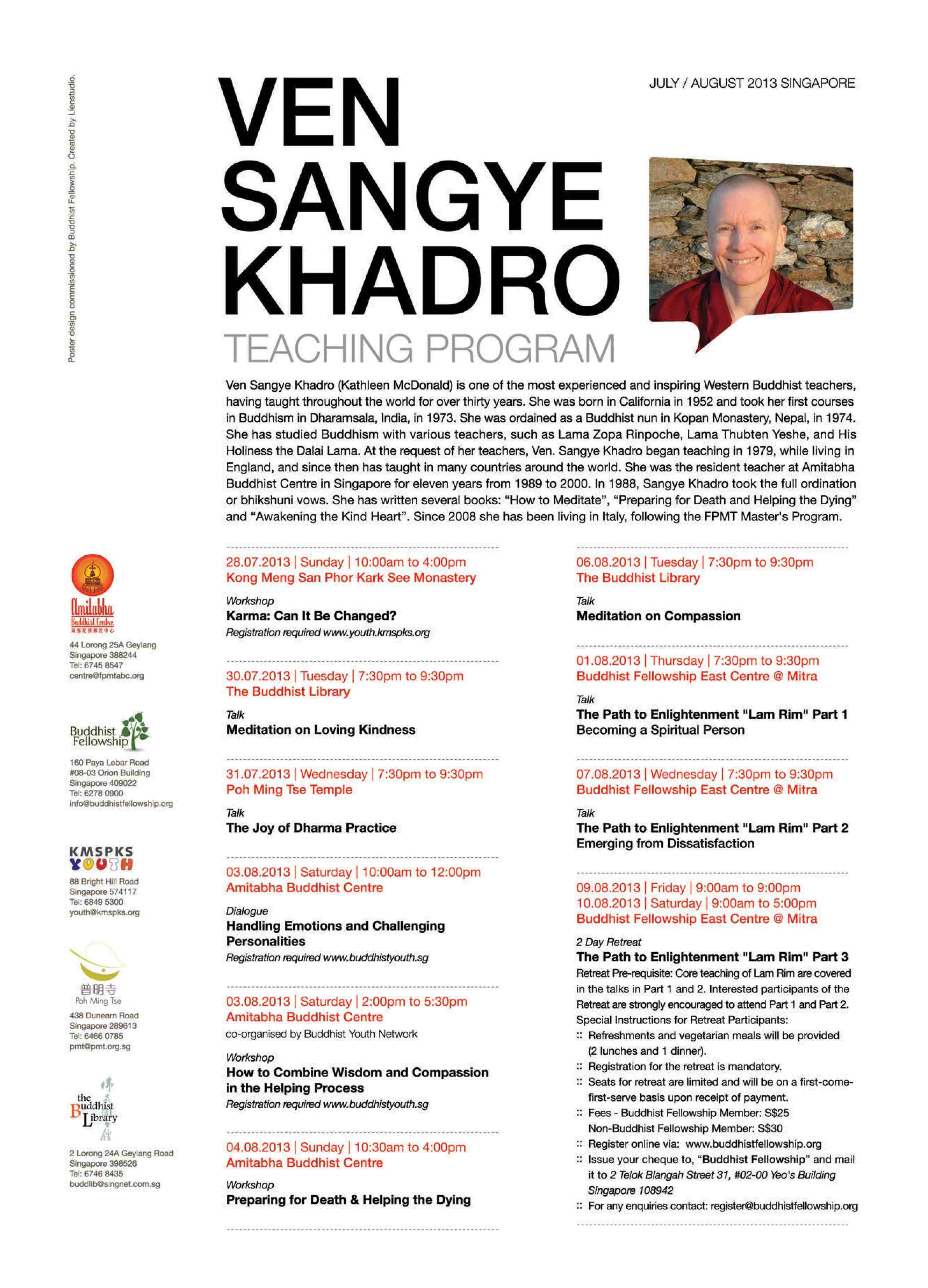 Sangye Khadro Teaching Program in SG - 2013