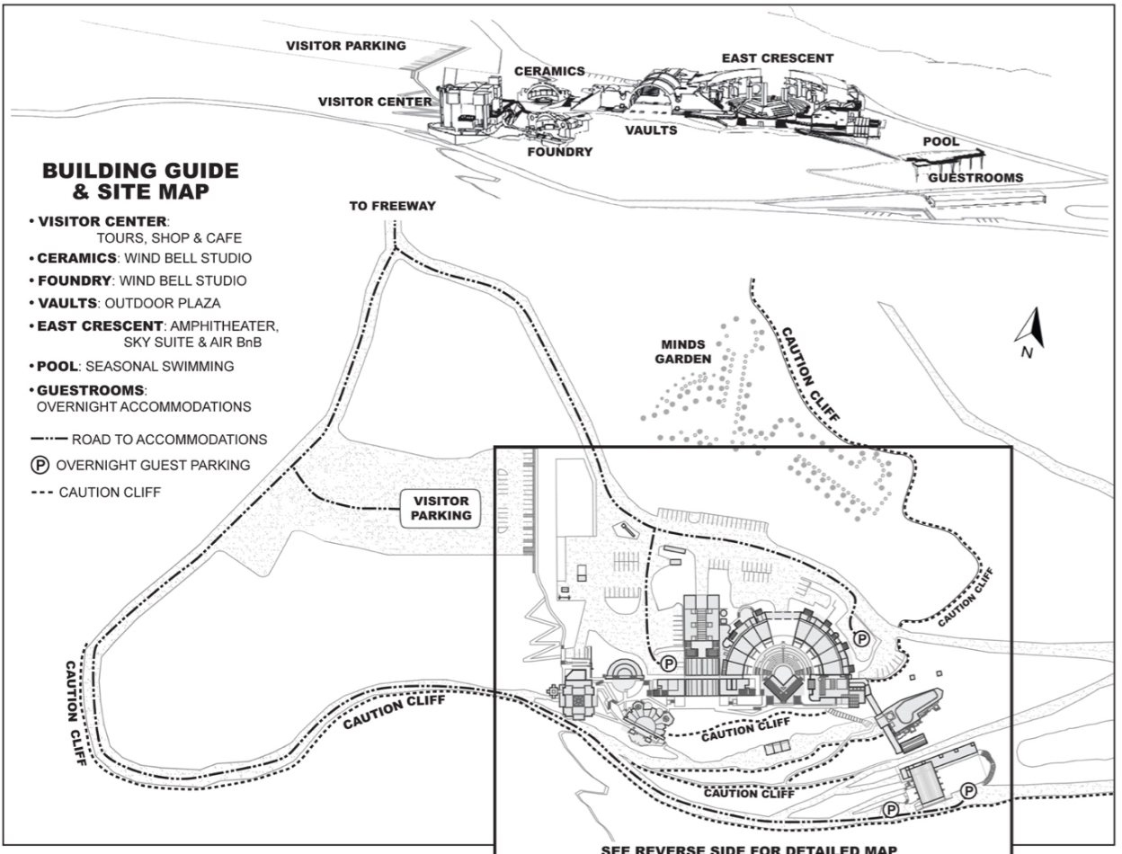 Map of Arcosanti including road to guest rooms