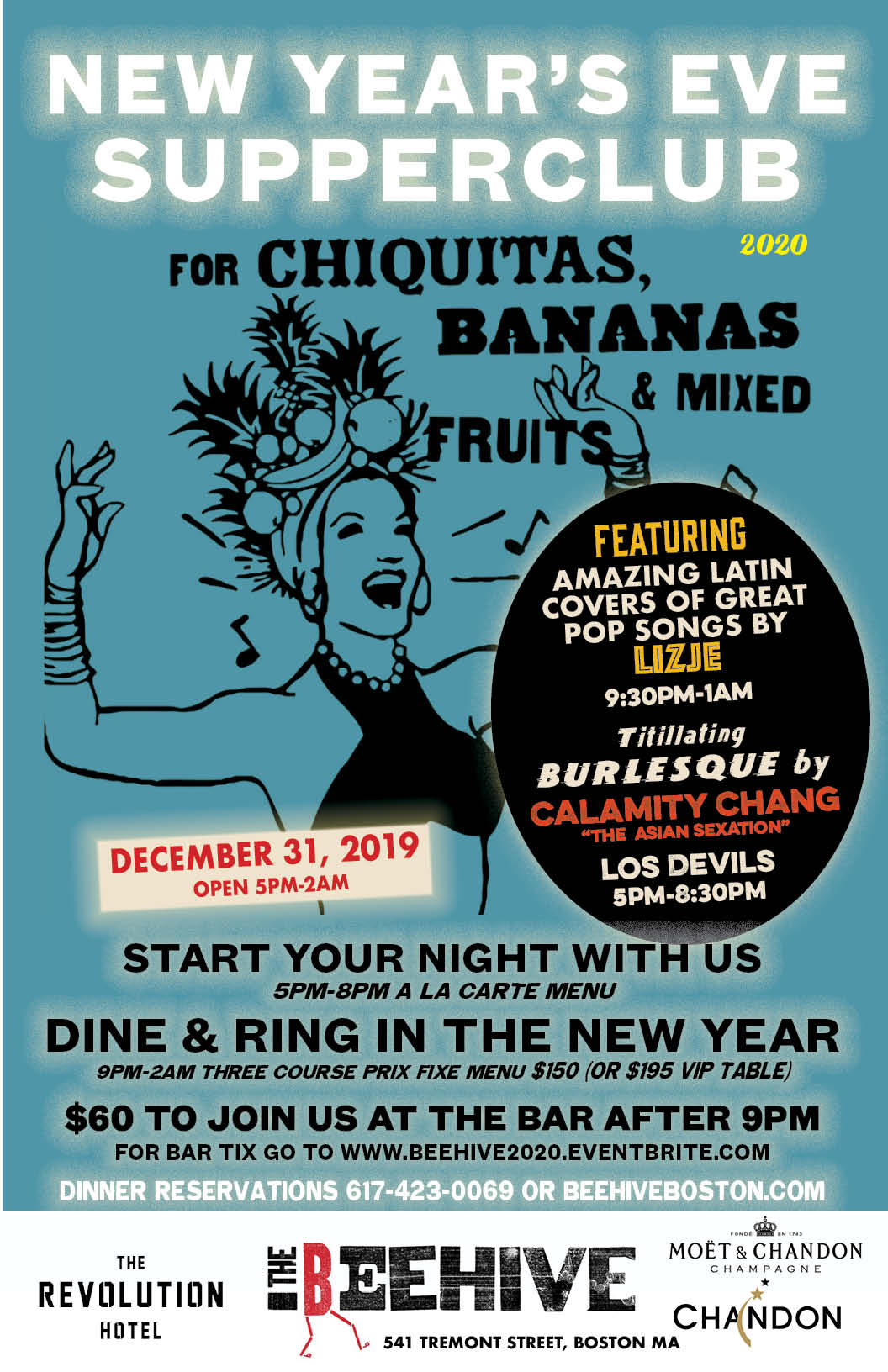 Boston New Years Eve 2020.The Beehive New Year S Eve Supperclub For Chiquitas Bananas 2020