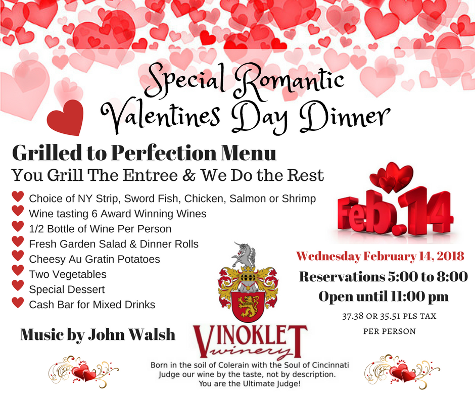 valentines day @ the vineyard / 35.58 to 37.38 per person (pls tax, Ideas