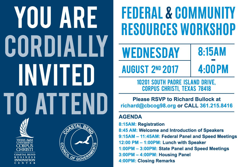 Flyer - Federal & Community Resources Workshop