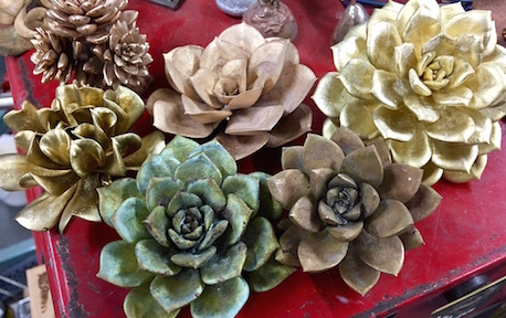 Cast succulents in bronze and brass