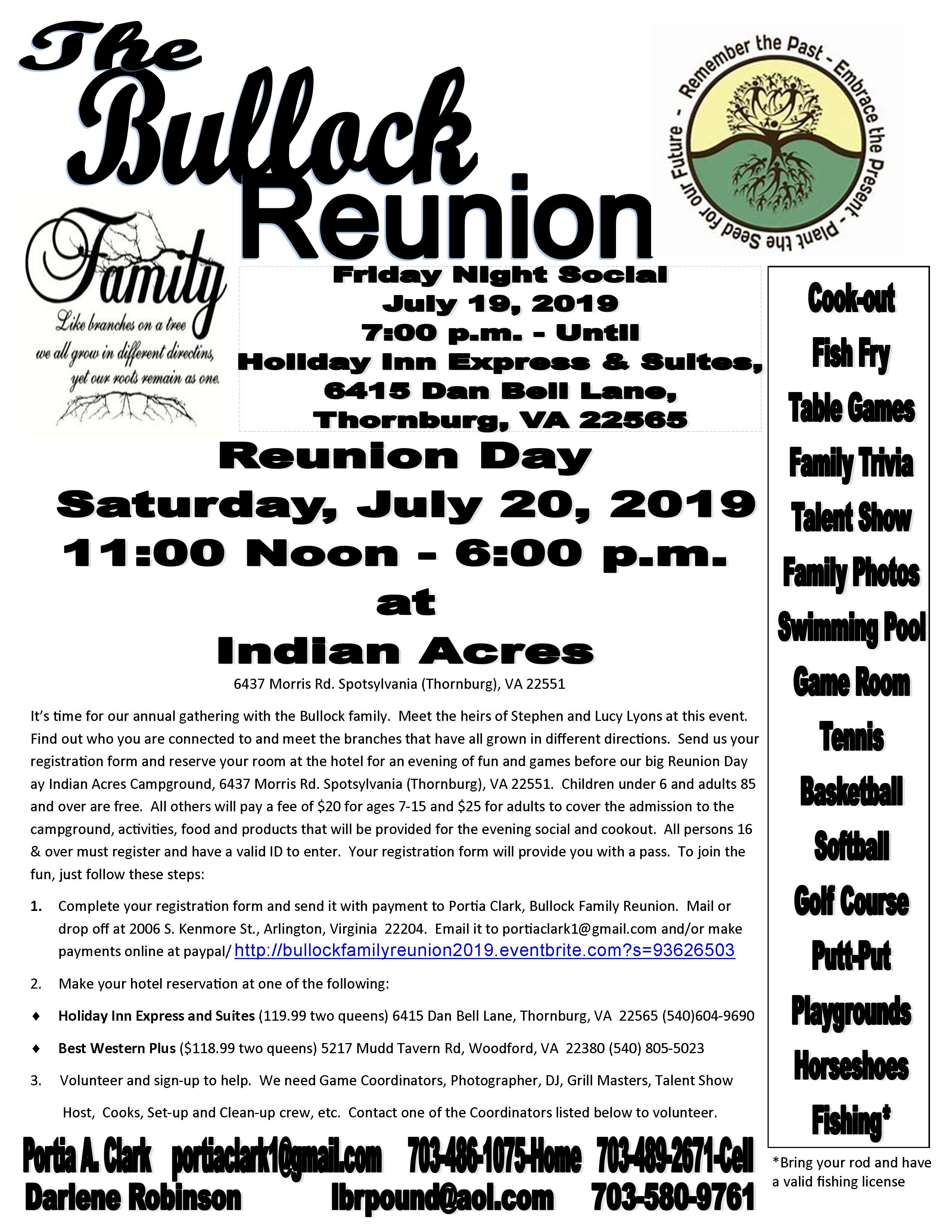 Bullock Family Reunion 2019 Flyer