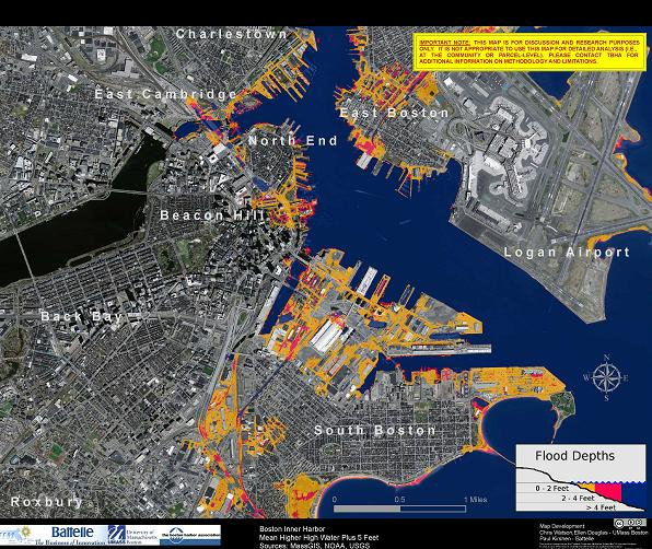 Areas at high risk to sea level rise and flooding