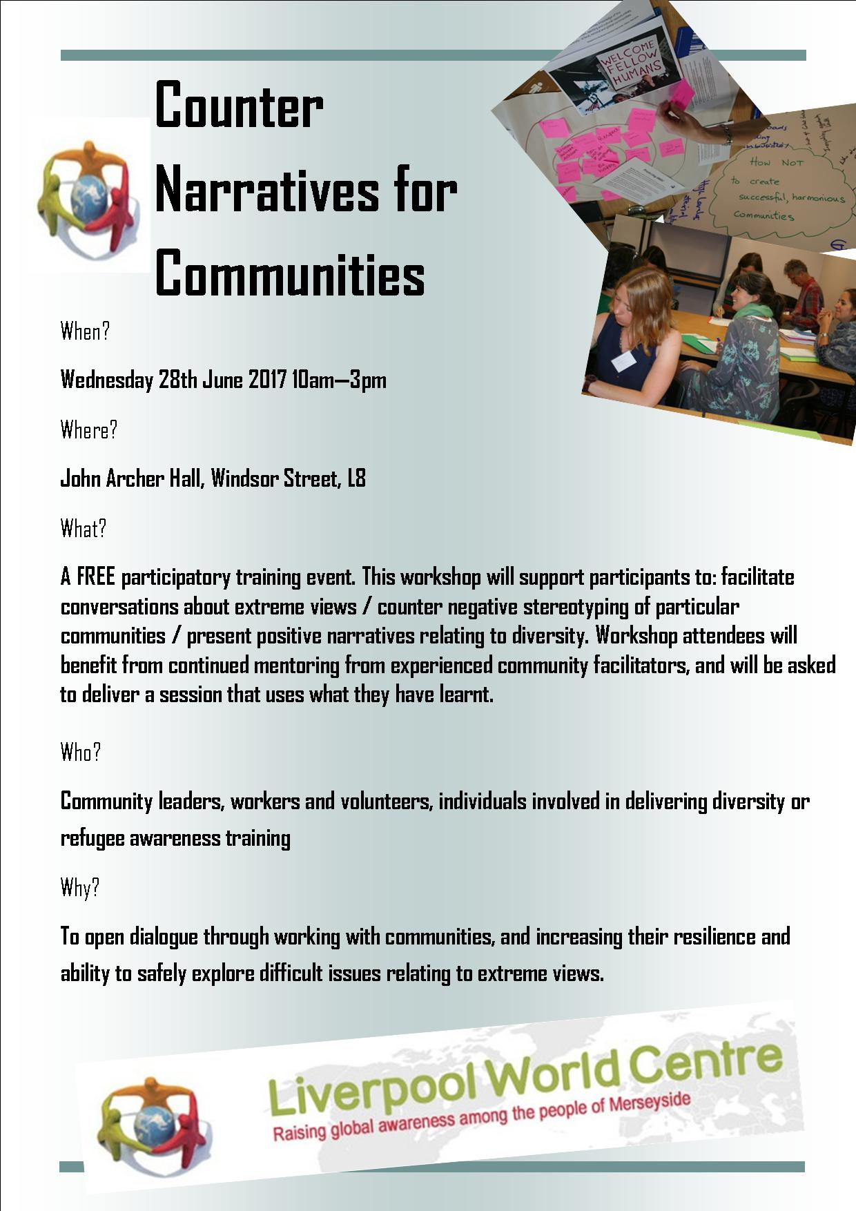 Communities workshop flyer for Counter Narratives Project