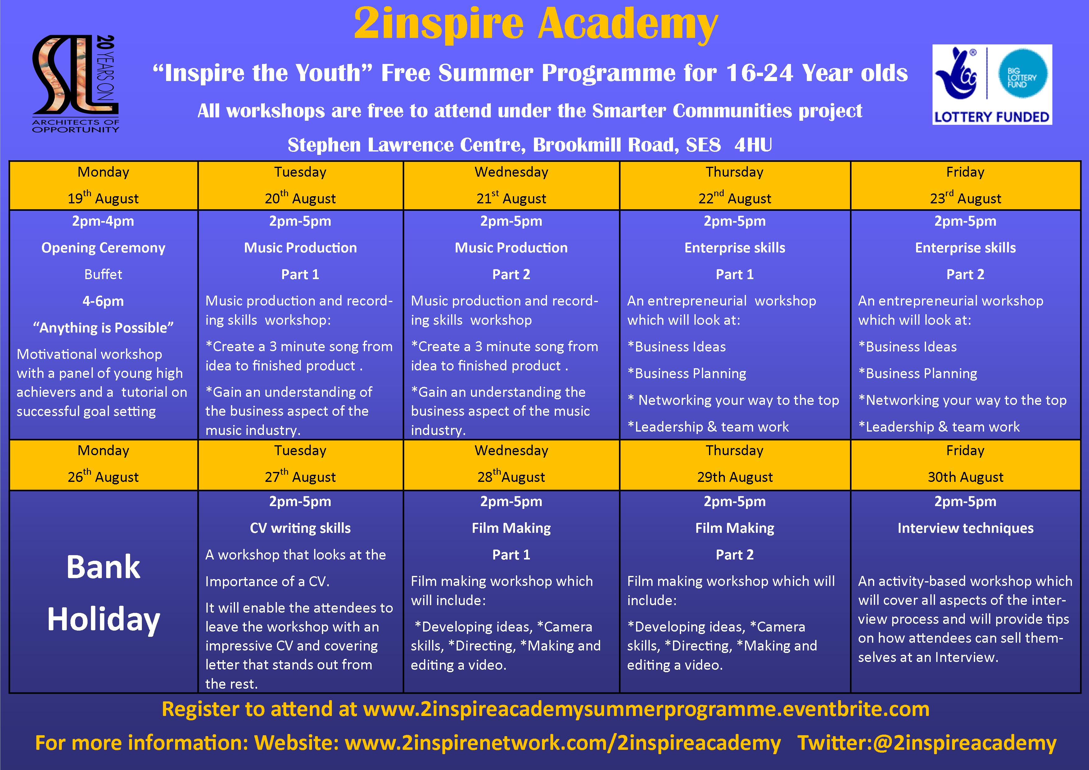 2INSPIRE ACADEMY SUMMER PROGRAMME