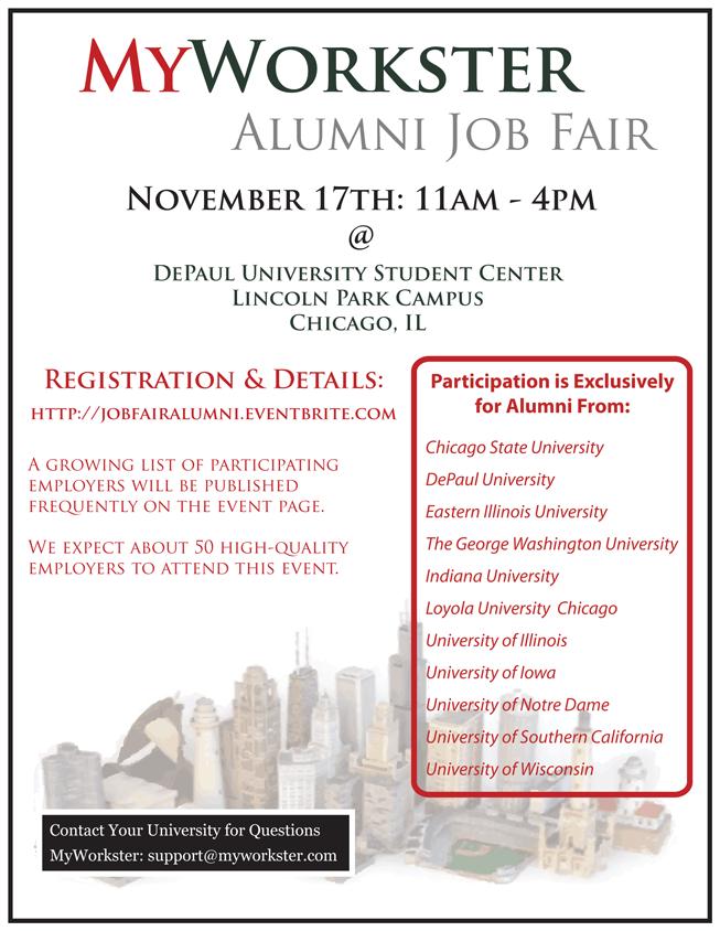 MyWorkster Chicago Job Fair Alumni Flyer