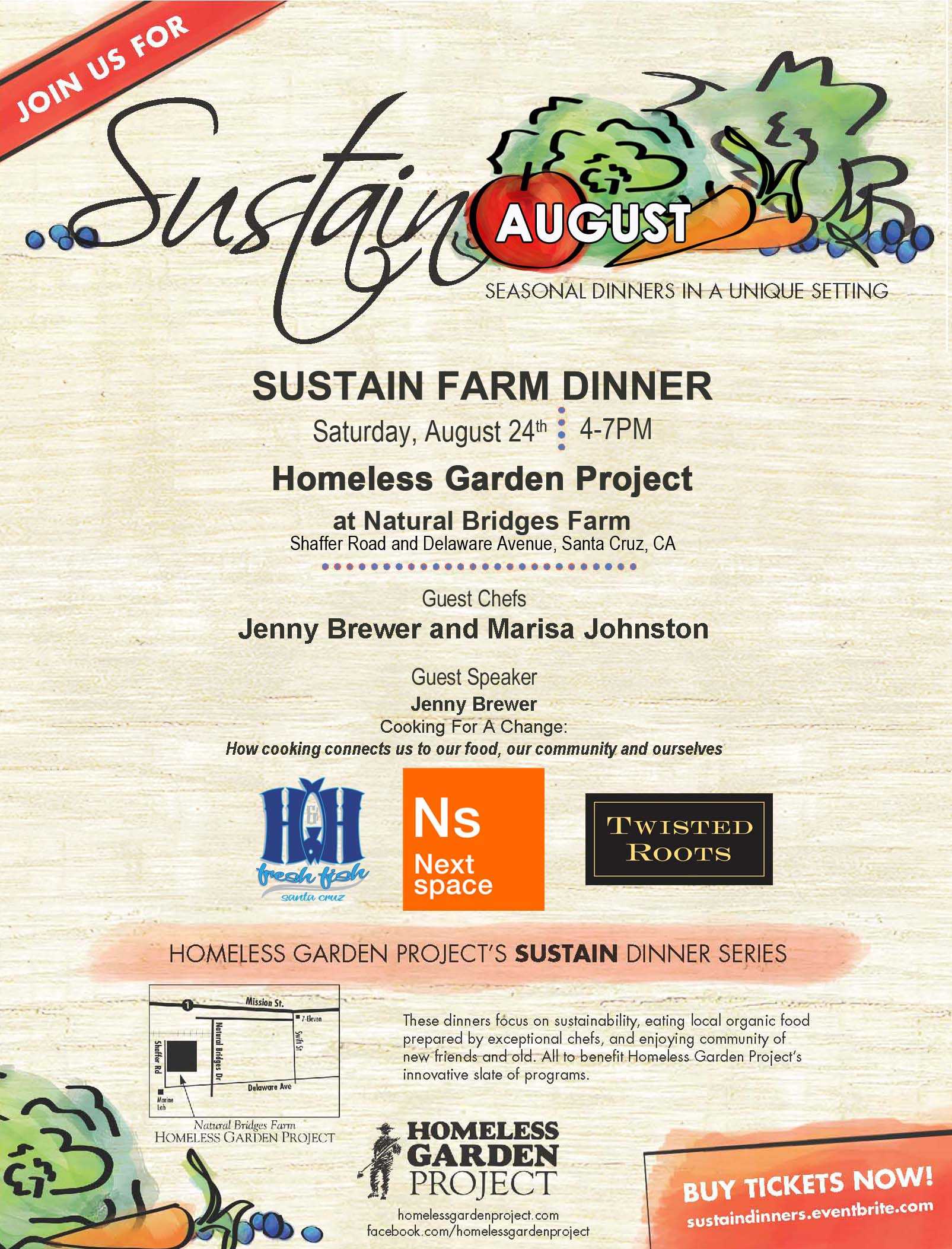 August Sustain Dinner with Jenny Brewer and Marisa Johnston