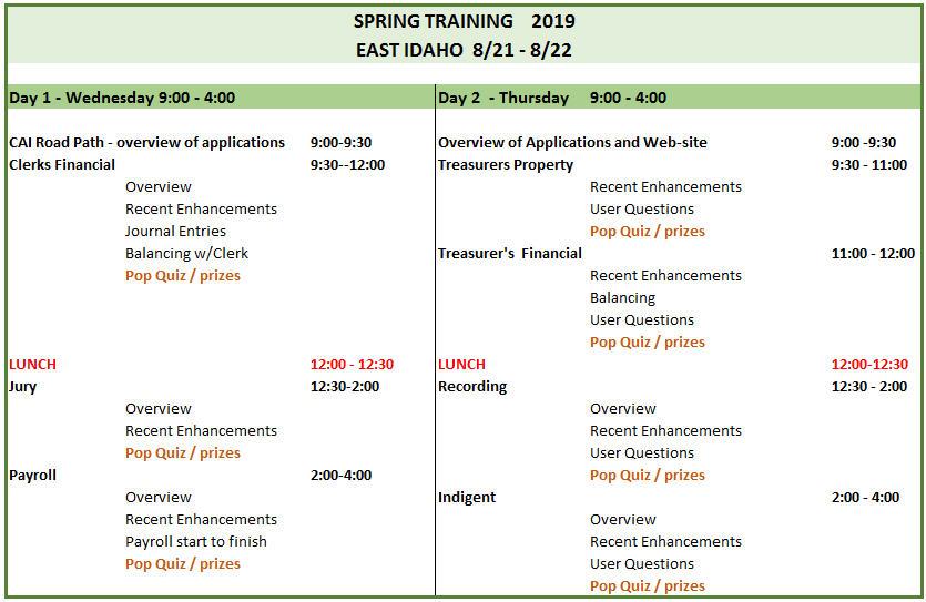 2019 E Spring Training agenda