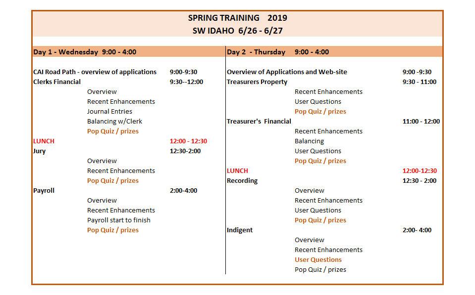 2019 SW Spring Training agenda