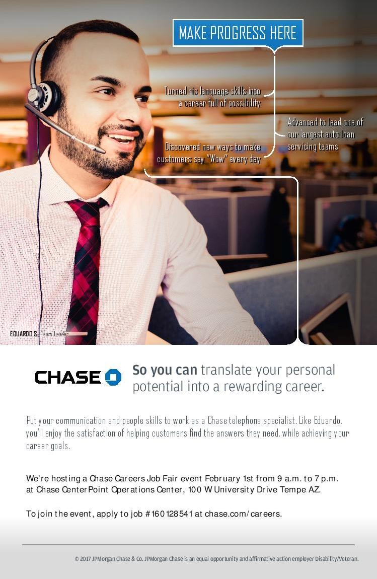 chase careers job fair feb a m p m rsvp description