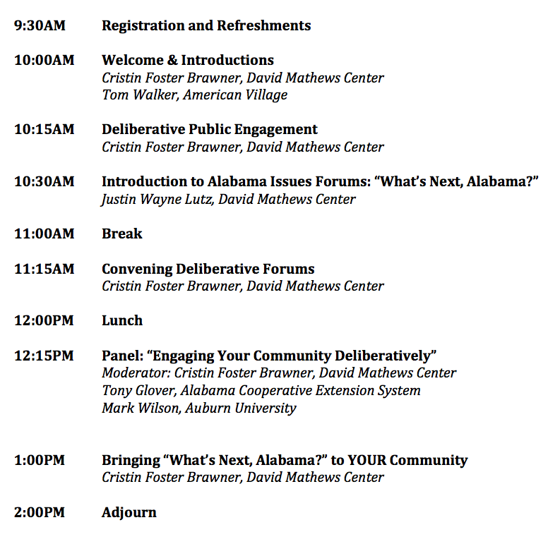 What's Next, Alabama? Convener Workshop Itinerary
