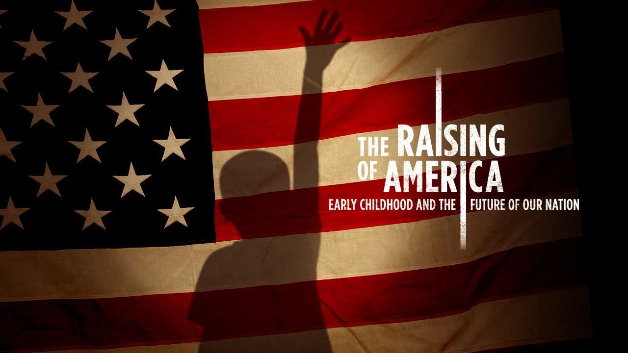 american flag with child raising hand