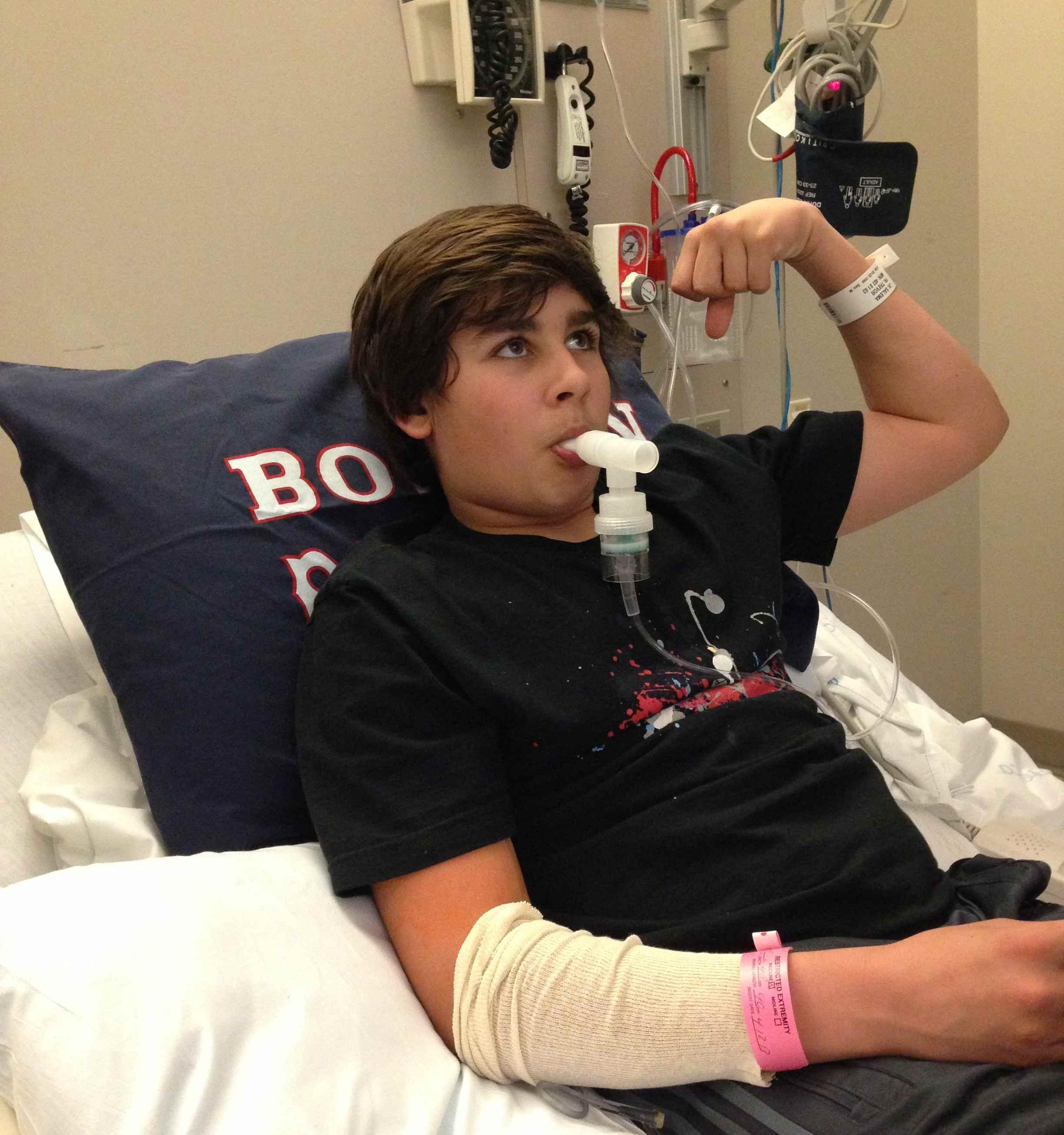 Trevor in the hospital