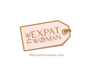 The Expat Woman logo - text inside pink luggage tag