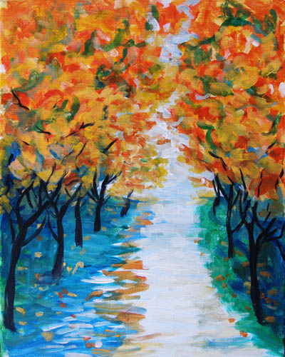 Autumn Pathway - The Paint Club Class Painting - SF Fun Painting Class