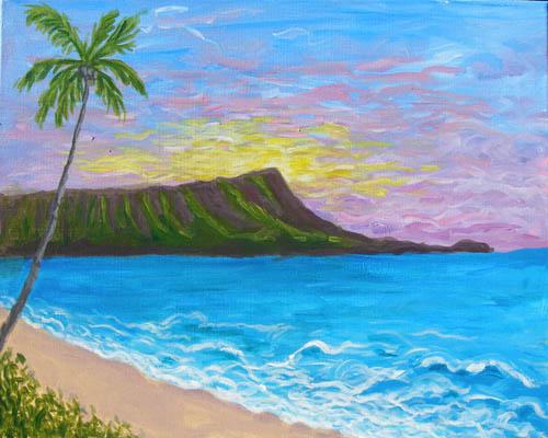 Diamond Head Sunrise - The Paint Club Class Painting - SF Fun Painting Class