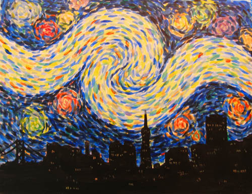 Ecstaic Starry NIght SF - The Paint Club Class Painting - SF Fun Painting Class