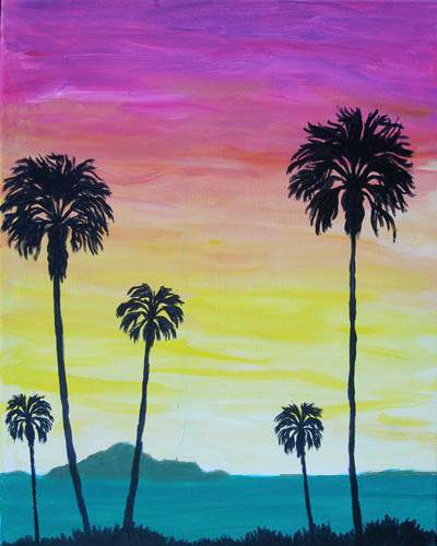 Evening in Paradise - The Paint Club Class Painting - SF Fun Painting Class