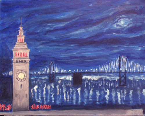 Ferry Building at Twilight - The Paint Club Class Painting - SF Fun Painting Class
