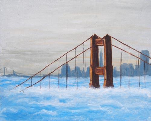 Foggy Golden Gate Bridge - The Paint Club Class Painting - SF Fun Painting Class