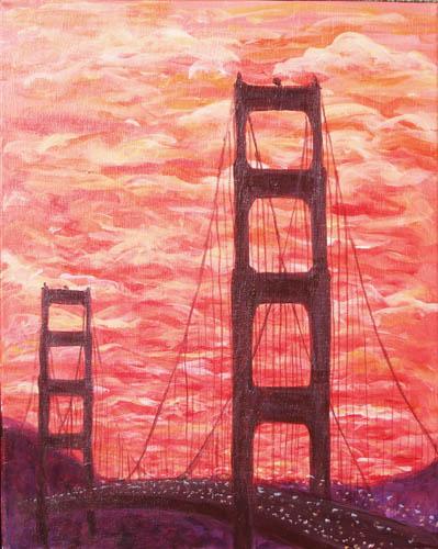 Golden Gate Bridge Sunset- The Paint Club Class Painting - SF Fun Painting Class