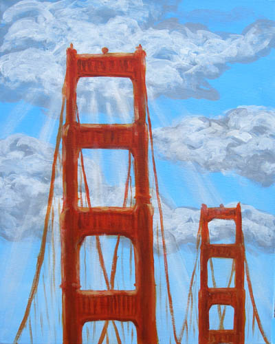 Golden Gate Sunbeam - The Paint Club Class Painting - SF Fun Painting Class