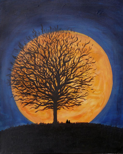 Harvest Moon Repose - The Paint Club Class Painting - SF Fun Painting Class