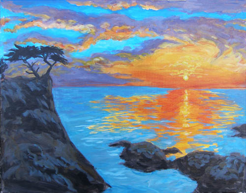 Lone Cypress Pebbble Beach - The Paint Club Class Painting - SF Fun Painting Class