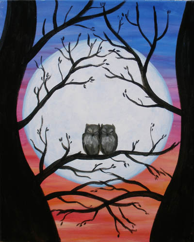 Lover's Moon - The Paint Club Class Painting - SF Fun Painting Class