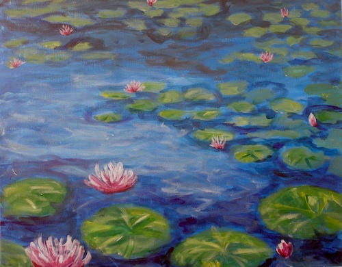 Water Lilies at Giverny - The Paint Club Class Painting - SF Fun Painting Class