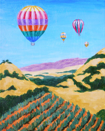 Napa By Balloon - The Paint Club Class Painting - SF Fun Painting Class
