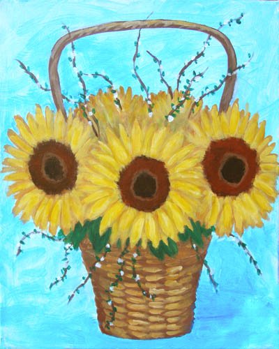 Sunflower Basket for Mother's Day - The Paint Club Class Painting - SF Fun Painting Class