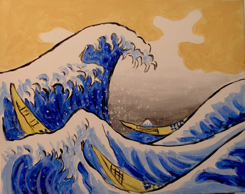 The Great Wave Off Kanagawa - The Paint Club Class Painting - SF Fun Painting Class