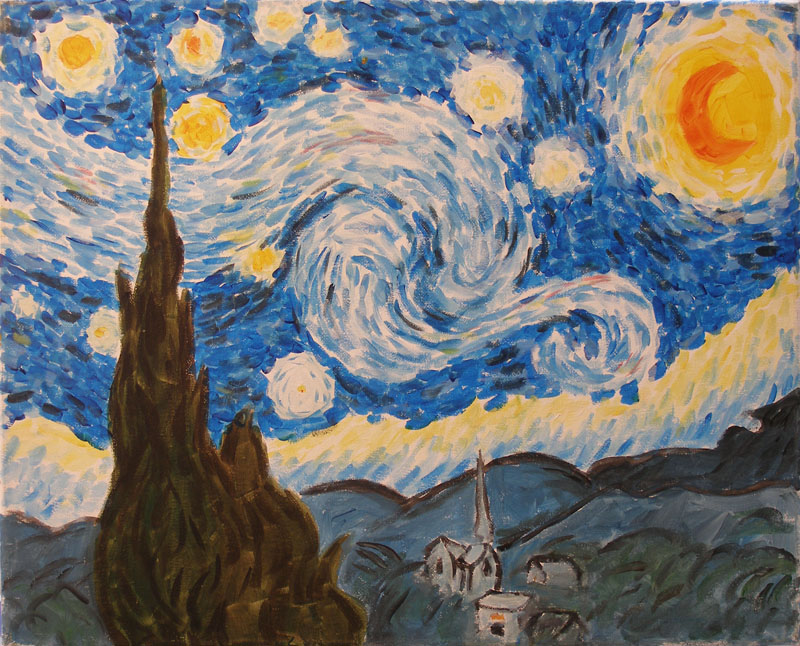 Starry Night - The Paint Club Class Painting - SF Fun Painting Class