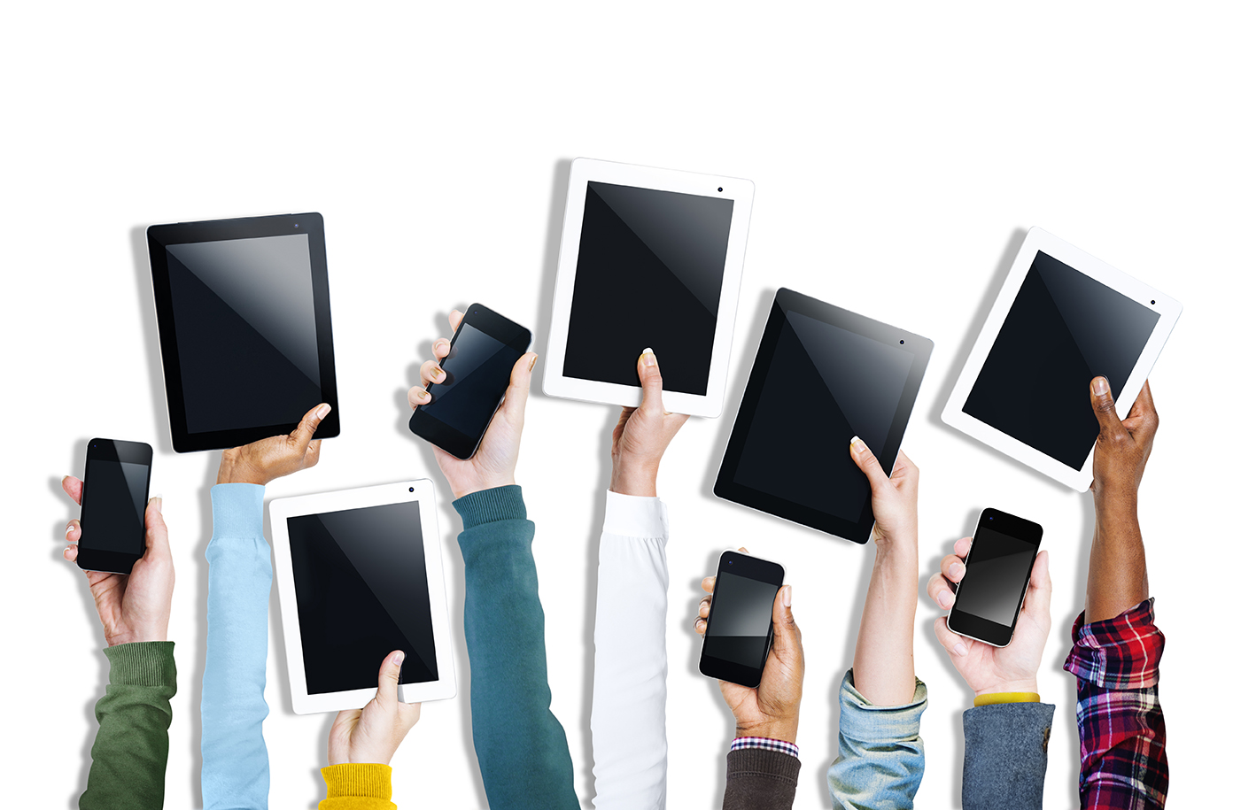 Arms waving mobile devices