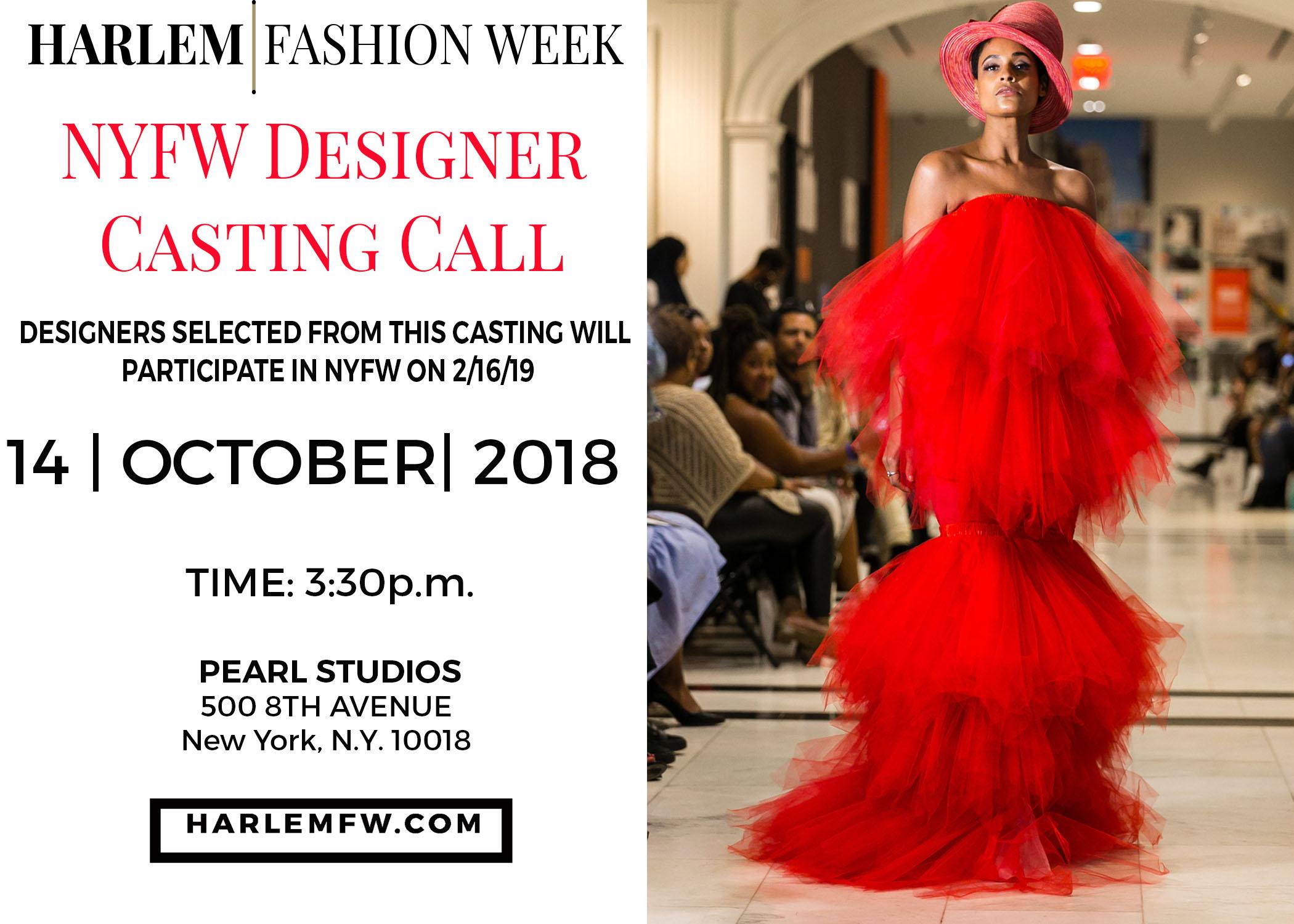 Harlem Fashion Week Designer Casting 14 Oct 2018