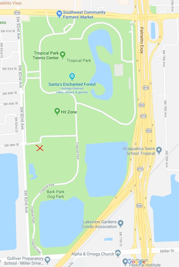Map of Tropical Park Saturday 5k