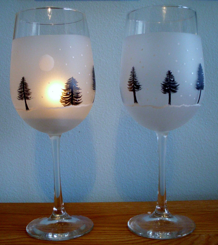 Winter tree wine glasses